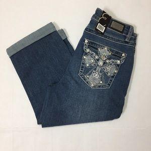 Earl jeans Capri rhinestone pockets crop cuff pant